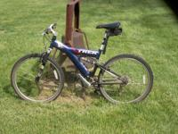"Trek ""Y"" frame fully suspended mtn bike, Rock Shox,"