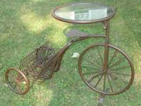 Super Cute Tricycle Metal Stand with Glass Top. A
