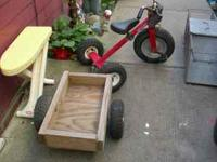All terrain tricycle with trailer. $25 firm. Text  to