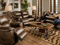 Bonded leather sofa with 3 built in recliners and drop