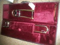 Jupiter Trombone. Good shape. Case is brown and black.
