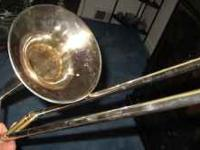 Beautiful older Vintage Silver Trombone by Conn. First