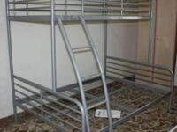 Almost new bunk bed frame. Grey in colour, built to
