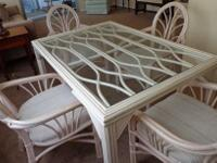 TROPICAL DINING ROOM SET-SHARP IVORY/OFFWHITE BAMBOO