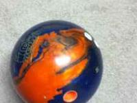 Blue and Orange Tropical Storm Bowling Ball Bought in