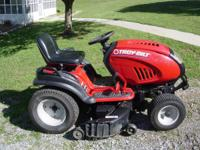 "Troy Bilt Riding mower with 46"" deck with mulching kit."