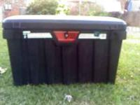 Black Truck Bed Utility Box - Hinged Lid with Lock and