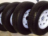 Set of 4 mounted and balanced white steel wheels, 15x5