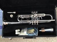Silver Bach TR300 trumpet with case, 2 mouth pieces and