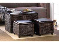 A coffee table, side table, ottoman extra seating,