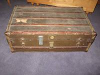 Antique: Trunk.  Chest.  Wood Slats. Coffee Table.