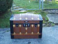 19th century dome top trunk from poland/ original key/
