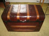 Steamer trunk metal clad with oak ribs in restored