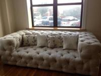 Tufted culp sofa with tight tufted back, tufted seat,