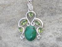 Natural turquoise and natural peridot sterling silver