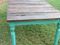Turquoise plank table Solid wood Seat up to 8 ppl 31