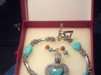blue-green set ----- bracelet, pendant and rings