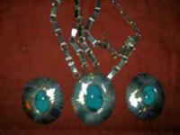 One of a kind 24 inch Turquoise Necklace and matching