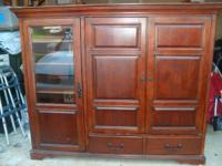Cherry wood TV Armoire. Great condition. Side component