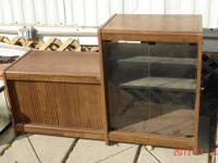 Large television credenza, light oak finish. Cabinet