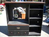 BLACK AND WOOD GRAIN TV ENTERTAINMENT CENTER,  OR .