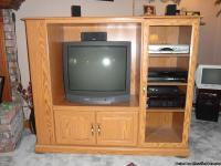 "Light Oak TV media center with storage 60"" wide x 50"""