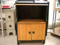 "Nice TV Stand Wood Grain and Green Measures 23 1/2""H x"