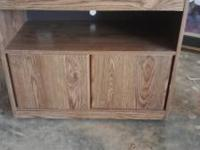 Rolling Wood Grain TV Stand, Swivel Top, 1 Shelf and