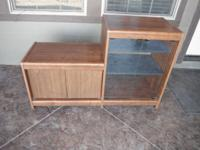 TV stand for sale. Medium wood finish. Dimensions are: