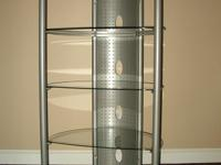 Corner TV stand, 3 glass shelves, graphite gray color,