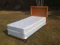 TWIN BED WITH FRAME, HEADBOARD, BOX SPRING AND