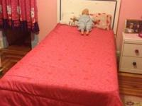 twin size  white head board; mattress. box