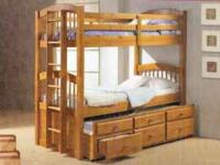 This durably made solid wood Captains bunk bed with