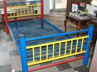 Primary colors with metal frame - this bed can be used