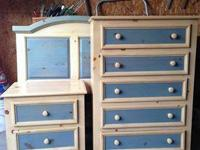 Twin headboard, nightstand and dresser. Cute blue set!
