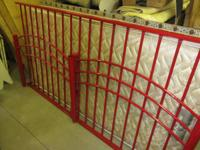 RED METAL HEADBOARD AND FOOT BOARD AND MATERIAL COVERED