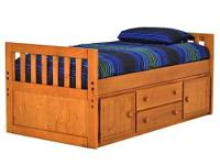Space saving Twin Captain's Bed. Beneath the bed there
