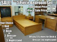 3 Piece Set - Bed, Dresser or Desk, and Nightstand -