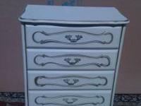 Antique white w/gold trim of chest of 4 drawers/twin