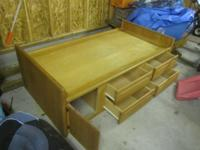 Solid Oak Twin Captain Bed with 5 Storage Drawers,