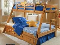 New twin over full bunk bed, solid wood, and still