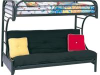"This ""C"" style twin over complete futon bunk bed will"