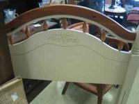 Twin Headboard and rails, white/almond color and wood,