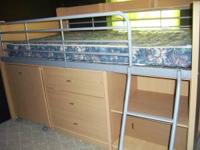 TWIN LOFT BED WITH PULL OUT STUDENT DESK, 3 DRAWER