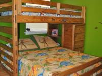 Twin over full bunk bed with 5 drawer dresser. EC Less