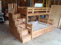 Solid wood bunk beds, made to order in any stain