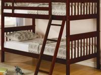 Twin over full bunk bed in cherry oak finish. Didn't