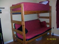 Like new Twin bunk bed over futon that folds out into a