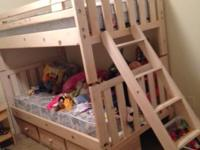 Twin Over Twin Bunk Beds - nude real wood, comes with