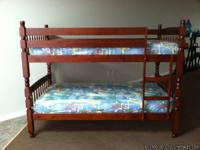 All wood twin over Twin Bunk bed set with 2 new bunkbed